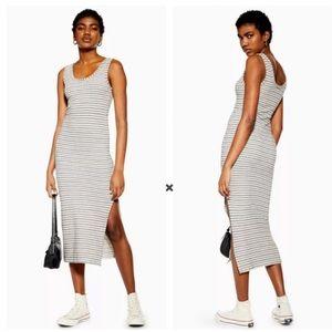 Topshop Natural Black Stripe Column Midi Dress